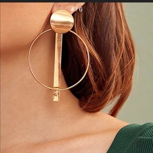 Bar decor hoop drop earrings